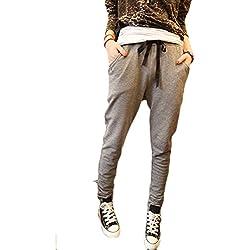 Donna Harem Pantaloni Pantaloni Con Tasche Pantaloni Lunghi da Yoga ( Grigio Scuro EU S )