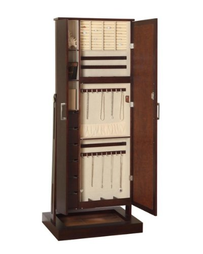 standing locking jewelry cabinet storage chest box organizer dressing mirror new ebay. Black Bedroom Furniture Sets. Home Design Ideas
