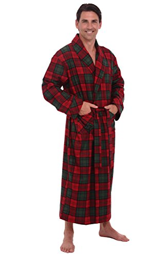Del Rossa Men s 100% Cotton Flannel Bathrobe Robe 9d7bab507