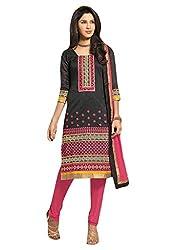 Viva N Diva Women's Cotton Salwar Suit Dress Material (Red Cherry-1664 _Black _Free Size)