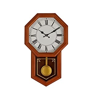 LexMod Honor Pine Wood Case Pendulum Wall Clock