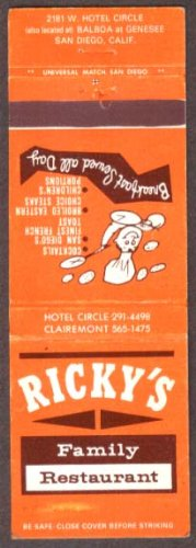Ricky's Family Restaurant San Diego CA matchcover (Ricky Ca compare prices)