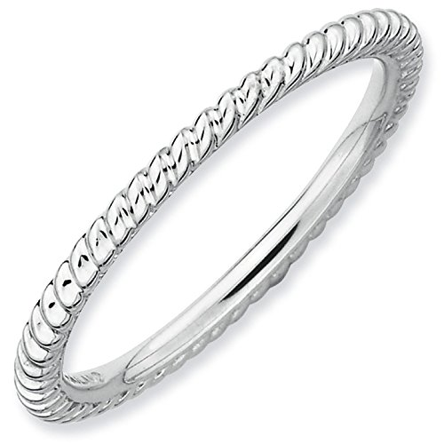 Unique Silver Stackable Rhodium Twisted Ring Band. Sizes 5-10 Available