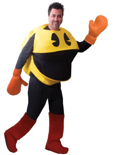 Pac Man Deluxe Costume, One-Size with gloves