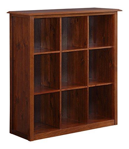 Simpli Home Devon Nine Cube Bookcase and Storage Unit, Medium Mahogany Brown Storage Mahogany 5 Shelf Bookcase