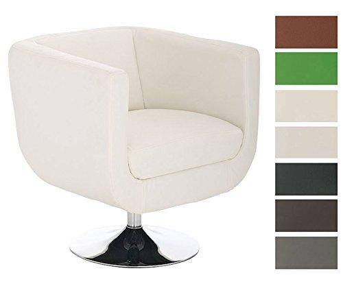 CLP-runder-Design-Leder-Loungesessel-COLORADO-im-Retro-Stil-drehbar-aus-bis-zu-7-Farben-whlen-wei