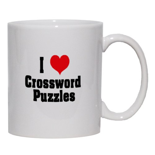 I Love/Heart Crossword Puzzles Mug For Coffee / Hot Beverage 11 Oz. Pink