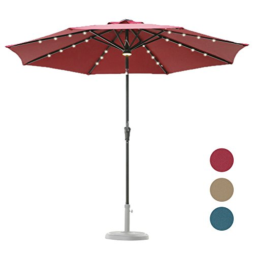 C-Hopetree 9 Foot Solar Patio Market Umbrella for Outdoor, with 32 Solar Rechargable LED and Central LED Hub Light, Auto Tilt, 250gsm Canopy, Red