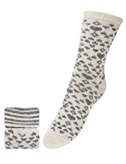 2 Pairs of Thermal Heart Ankle High Socks with Wool