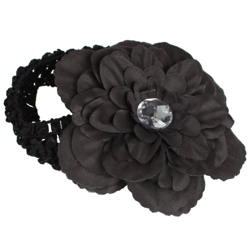 Europe Knitting Fabric Peony Flower Headband Gerber Soft Infant Girls Child Baby Toddler Apparel Head Hair Band Hairband Bow Decoration Accessory (Black)