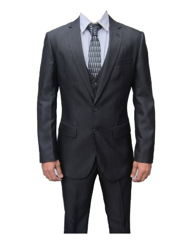 Marc Darcy Rocky Mens Charcoal 3PC Suit, Jacket 34