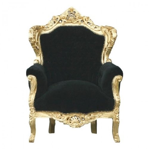 Baroque Armchair 'King' Black / Gold
