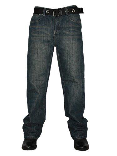 New Mens Indigo Ricci Straight Leg Regular Fit Belted Denim Jeans W38 L32