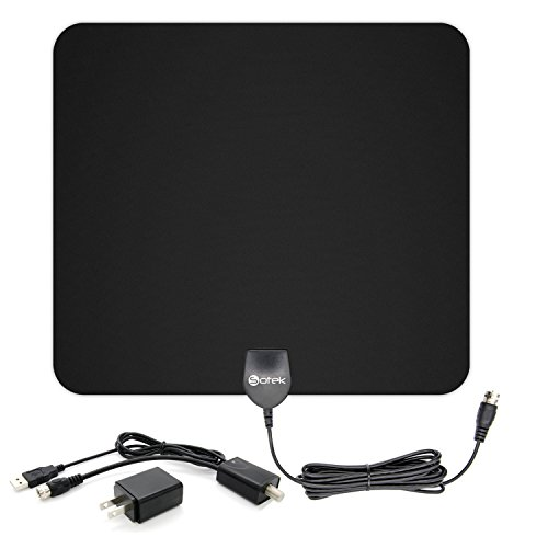 Sotek 50 Miles Range Amplified Indoor HDTV Antenna with Detachable Amplifier Booster USB Power Supply to Boost Signal and 13ft Coaxial Cable -Black (Dish Ota Usb compare prices)