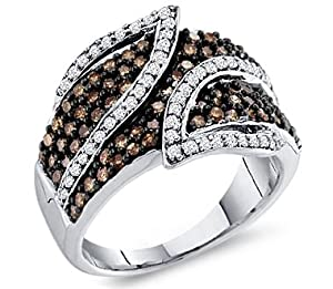 Brown Chocolate Diamond Ring Womens Band 10k White Gold (1.00 Carat), Size 7