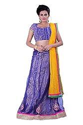 Sonika Royal Blue & Yellow Net 3 Piece Lehenga Choli