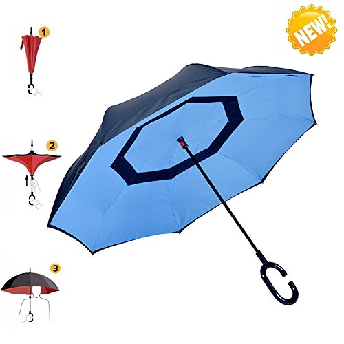 AIGUMI Innovative Winddichtes Regenschirm umge Folding Double Layer Sunblock Umwelt Bumbershoot(Blau / Schwarz )