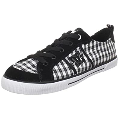 DC Women's Fiona Skate Shoe,Black/White/Plaid,10 M US