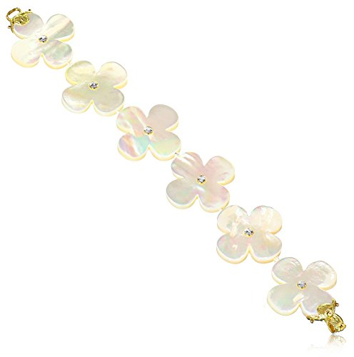 Gabrielle-Sanchez-White-Mother-Of-Pearl-Clover-with-3mm-Signities-Metal-Clasp-Bracelet