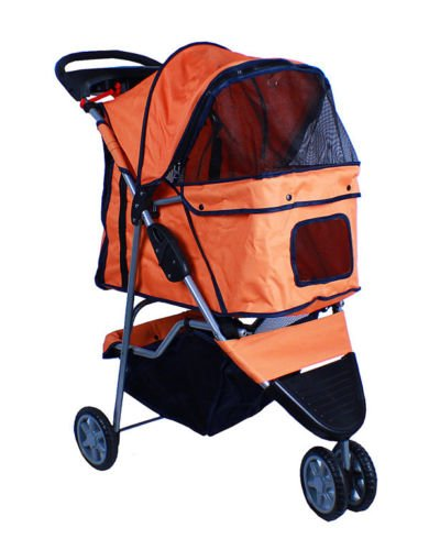New Deluxe Folding 3 Wheel Pet Dog Cat Stroller Carrier W Cup Holder Tray Orange front-1050022
