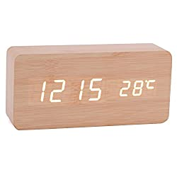 Wooden Digital Alarm Clock, Displays Time and Temperature, Aibrou Cube Wooden Mini Acoustic Control Clock Digital LED Desk Alarm Clock
