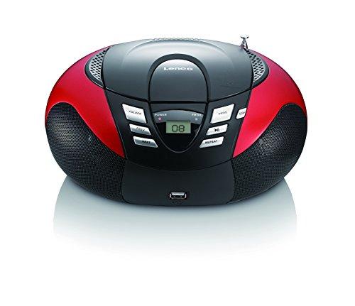 Lenco SCD-37 USB Stereo Boombox, Radio FM, CD/MP3-Player, USB 2.0, Rosso