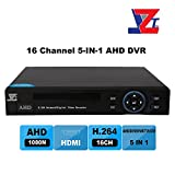 JZTEK 16ch 1080N Hybrid 5-in-1 AHD DVR (1080P NVR+1080N AHD+960H Analog +TVI+CVI) CCTV 16 channel Standalone HDMI output Quick QR Code Scan w/ Easy Remote View Home Security Surveillance Camera System
