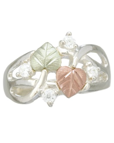 Womens Sterling Silver, 12k Pink Gold and 12k Green Gold Grape Leaf, Diamond Ring, Size 7.5
