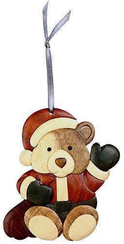 Santa bear Christmas tree Ornament Handcrafted Intarsia Wood Mosaic Double Sided with Ribbon