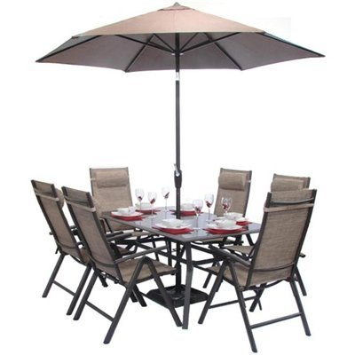 BillyOh Luxor Premium Rectangular 6 Seater Reclining Metal Garden Furniture Set with 3m Parasol