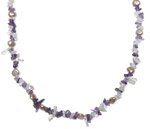 Pink Freshwater Cultured Pearl, Amethyst and Crystal Necklace, 36