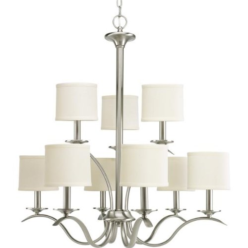 B007ZIXEUS Progress Lighting P4638-09 Inspire Collection 9-Light Chandelier, Brushed Nickel