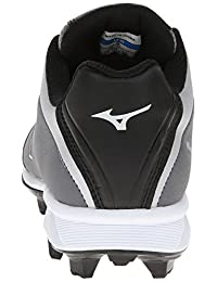 pictures of Mizuno Usa Mens 9 Spike Blaze Elite 5 GY BK Baseball Shoe, Grey/Black, 10.5 D US
