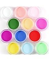 12 couleur mixte poudre acrylique decoration nail art A ongles gel tip