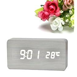 Mikey Store LED Electronic Desktop Digital Alarm Clock Large Display (White)