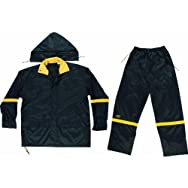 Custom Leathercraft R1032X 3-Piece Black Nylon Rain Suit-XXL BLK NYLON RAINSUIT