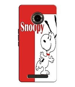 EU4IA Snoopy Pattern MATTE FINISH 3D Back Cover Case For MICROMAX YU YUPHORIA...