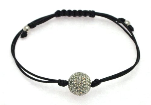 Black Cotton Knotted Bangle Type Adjustable Bracelet with Black Crystal Bead