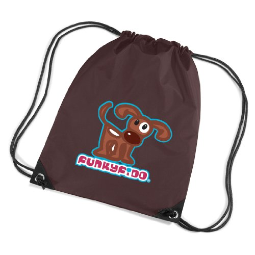 Funky Fido Girls Brown and White Staffie Dog Drawstring Bag Brown Size 45 x 34 cms