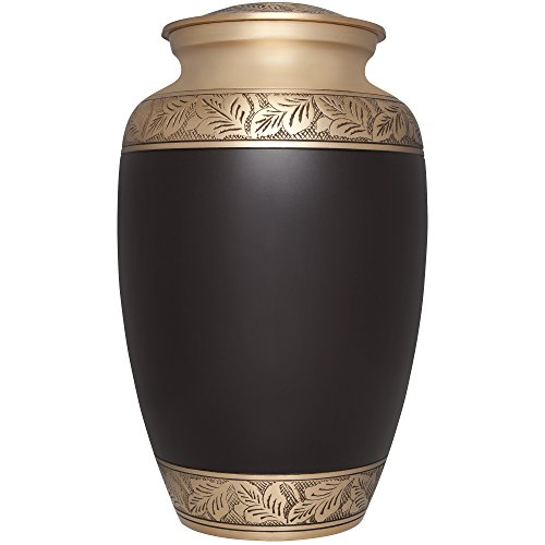 Funeral Urn by Liliane - Cremation Urn for Human Ashes - Hand Made in Brass and with Beautiful Hand Brown Enamel and Bronze Borders - Display Burial Urn at Home or in Niche at Columbarium. Brown Lacquer with Gold Accents (Yiyani Model). Fits cremated remains of adults. (Urns Full Size compare prices)