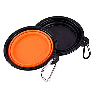Mudder Collapsible Travel Silicone Dog Bowl Portable Pet Food Water Bowl, Set of 2