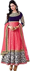Shreenathji Enterprise Pink Net Anarkali Dress Material (H154_pink_Free size)