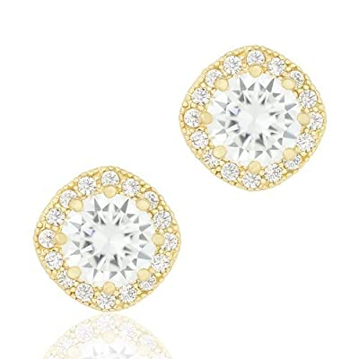 18k White Gold Plated Cubic Zirconia Cushion Shape Halo Stud Earrings (1.90 carats) by ORROUS & CO