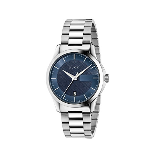 Gucci G-Timeless Collection Men's Quartz Watch with Blue Dial Analogue Display and Silver Stainless Steel Bracelet...