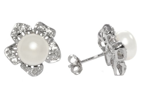 Sterling Silver White Cultured Freshwater Pearl with Cubic Zirconia Flower Earrings