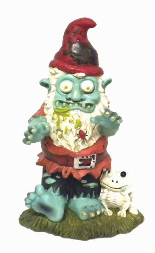 Creepy Halloween Zombie Gnome Garden Statue Sculpture front-926217