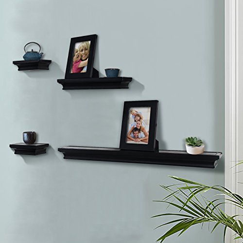 Shelving solution 6 pieces wall shelf set black home for Wall shelves and ledges