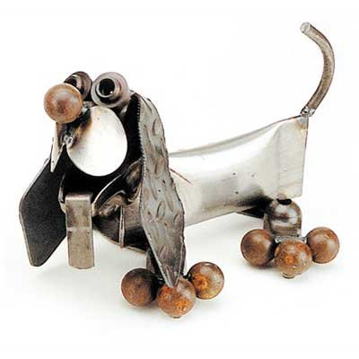 Hot Dog Puppy Recycled Metal Sculpture