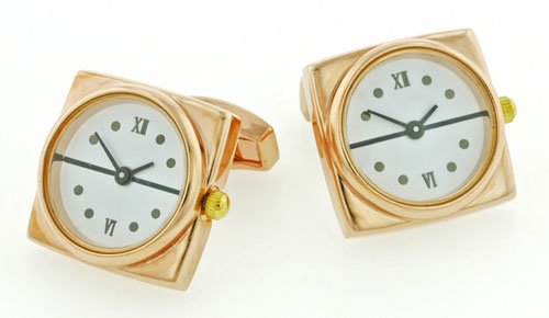 Square Working Watch Cufflinks with White Dial with Presentation Box Picture