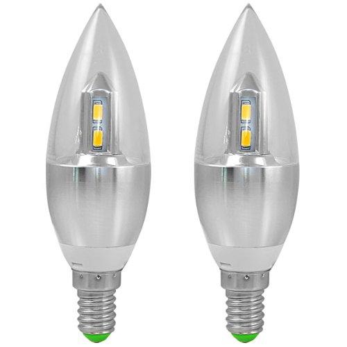2X MENGS® E14 4W LED Kerze wie Birne 8X5630 SMD Lampe Leuchtmittel Mit Aluminium und PC Mantel (300LM, Kaltweiß 6500K, AC 85-265V , 360º Abstrahlwinkel, Ø37×118mm) Super energiesparend licht gut für die Wärmeabgabe